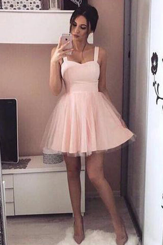Pink Sweetheart Short Prom Dress,A Line Lace Up Homecoming Dress,Party Dress SH163