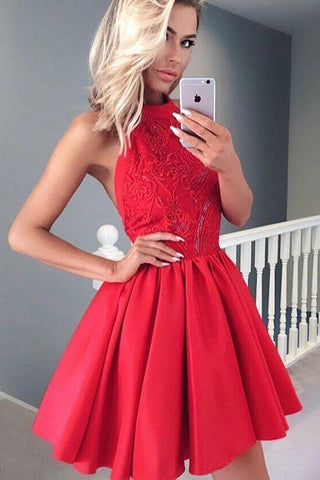 Red Halter Short Prom Dress,Open Back Appliques Homecoming Dress,Party Dress