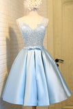 Light Blue V Neck Short Prom Dress,V Back Appliques Homecoming Dress,Party Dress