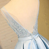 Light Blue V Neck Short Prom Dress,V Back Appliques Homecoming Dress,Party Dress SH165
