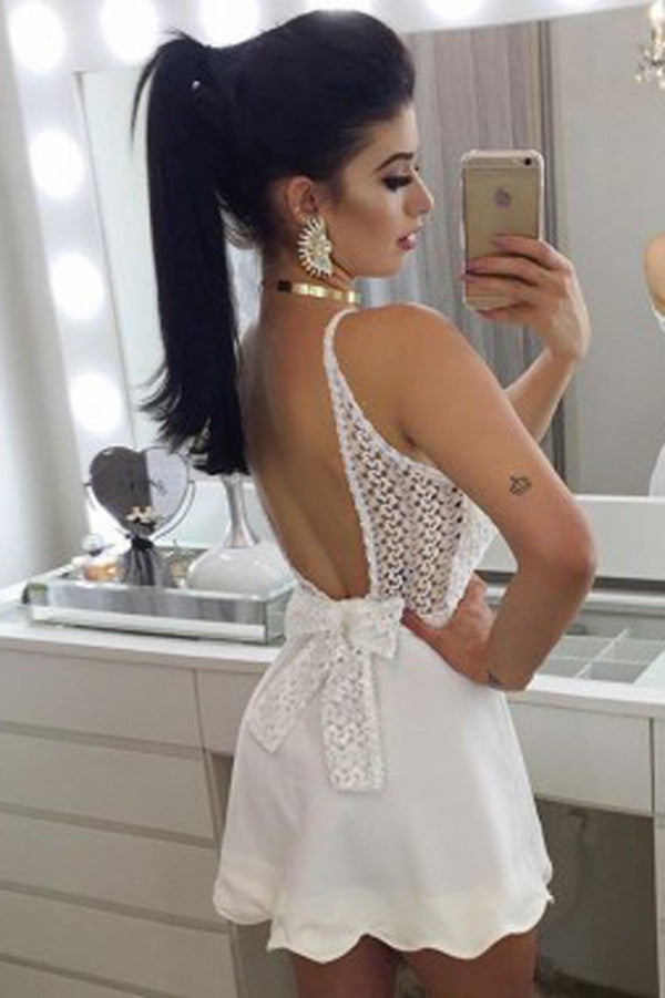 White Deep V Neck Spaghetti Strap Short Prom Dress,Open Back Bowknot Homecoming Dress,Party Dress