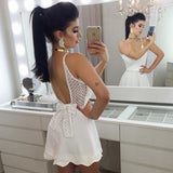 White Deep V Neck Spaghetti Strap Open Back Bowknot Homecoming Dress,Party Dress SH171