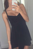 Simple Black Sweetheart Short Prom Dress,Spaghetti Strap Homecoming Dress,Party Dress