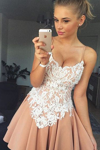 Sweetheart Spaghetti Strap Short Prom Dress,Appliques Homecoming Dress,Party Dress