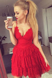 Red Deep V Neck Short Prom Dress,Spaghetti Straps Ruffles Cheap Homecoming Dress,Party Dress
