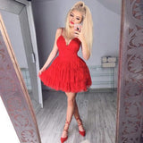 Red Deep V Neck Short Prom Dress,Spaghetti Straps Ruffles Cheap Homecoming Dress,Party Dress SH180