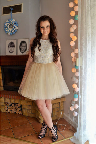 Ivory Boat Short Prom Dress,Layers Tulle Appliques Cheap Homecoming Dress,Party Dress