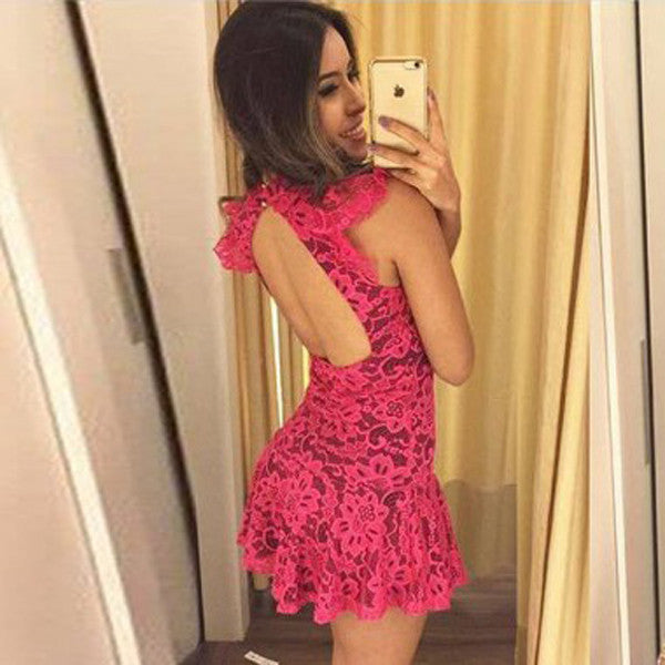 Sexy High Neck Bodycon Short Prom Dress,Keyhole Back Appliques Cheap Homecoming Dress,Party Dress SH182