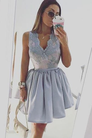 Light Lavender Puff Short Prom Dress,Deep V Neck Appliques Cheap Homecoming Dress,Party Dress