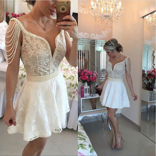 White Deep V Neck Pearl Beaded Open Back Appliques Sheer Homecoming Dress SH186