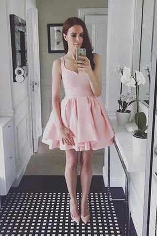 Pink Sweetheart Short Prom Dress,Sleeveless Ruffles Cheap Homecoming Dress,Party Dress