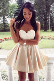 Light Lavender Deep V Neck Short Prom Dress,Sleeveless Appliques Pleats Cheap Homecoming Dress,Party Dress