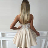 Sweetheart Strapless Short Prom Dress,Sleeveless Appliques Mid Back Cheap Homecoming Dress,Party Dress SH197