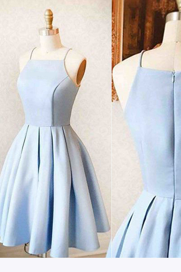 Satin Light Blue Simple Short Prom Dress,Homecoming Dress For Teens  Simidress-1727
