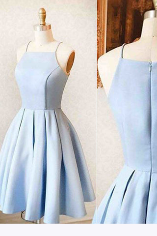 Satin Light blue Simple Short Prom Dress,Homecoming dress for teens ...