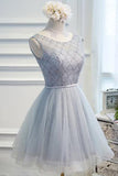 Chic Lace Beading Short Prom Dress, Cheap Homecoming Dress, Party Dress,SH203