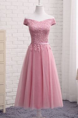 Gorgeous Pink A Line Lace Off Shoulder Prom Dress, Cheap evening dresses, SH208