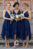 Royal Blue Straps V Neck Lace Bridesmaid Dress, Cheap Homecoming Dress, SH209