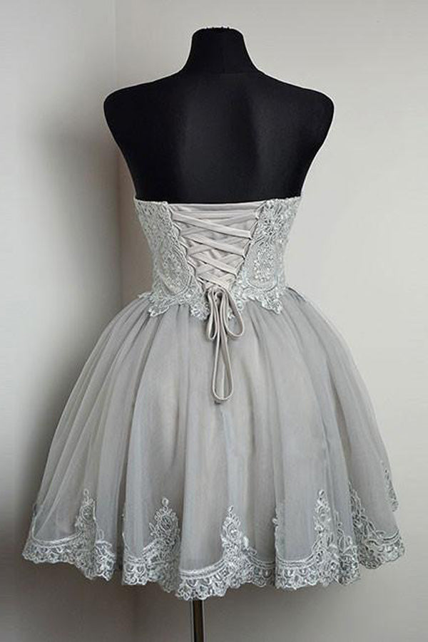 Grey Sweetheart Neck Strapless Homecoming Dresses with Lace Applique, SH214