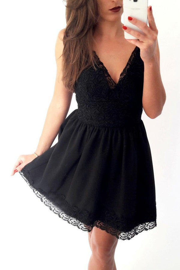 Black A-line Homecoming Dress,Deep V Neck Lace Short Prom Dress,
