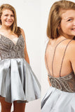 Silver Homecoming Dress with Beading, Straps Short Prom Dress, SH222