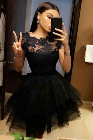 Black Short Sleeve Homecoming Dress,Lace Appliques Short Prom Dress,