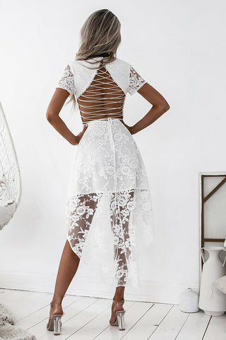 White Short Sleeve Homecoming Dress,High Low Open Back Short Prom ...