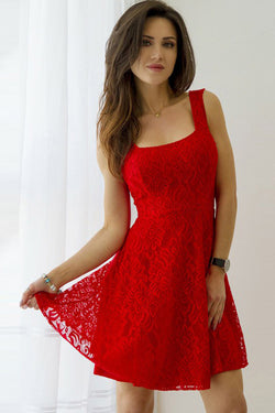 Red Square Sleeveless Homecoming Dress,V Back Lace Up Appliques Short Prom Dress