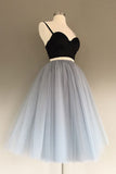 Gray Tulle Charming A-Line Two-Piece Short Homecoming Dress, SH231