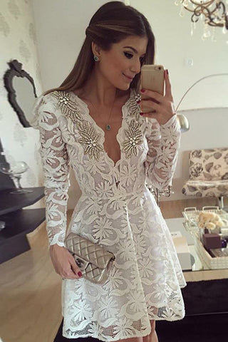 Deep V Neck Homecoming Dress,Lace Appliques Beading Short Prom Dress ...