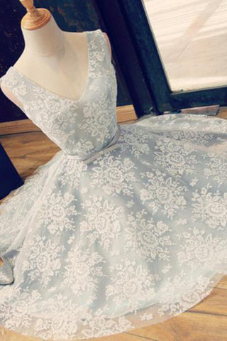 Light Blue Lace A-Line V-Neck Backless  Homecoming Dress with Belt, SH232