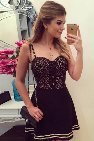 Black Sweetheart Spaghetti Homecoming Dress,Hollow Short Prom Dress