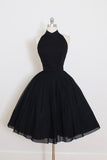 Black Halter Short Sleeve Homecoming Dress,A Line Open Back Short Prom Dress