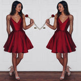 Burgundy Taffeta A-line V-neck Spaghetti Strap Homecoming Dress, SH254