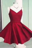 Satin Open Back A-Line Spaghetti Straps Homecoming Dress with Bowknot, SH255