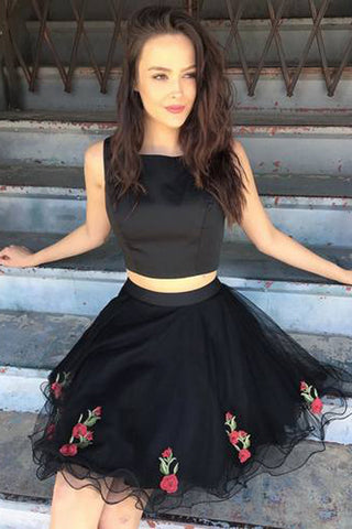 Black Unique Two Piece Short  Homecoming Dress Party Dresses, SH256