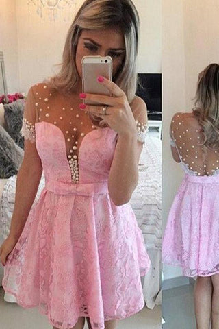 Pink A-Line Scoop Tulle Homecoming Dress With Sleeve,SH263