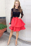 Black Lace Red Skirt Two Piece Long Sleeves Homecoming Dress, SH264