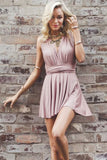 Criss-Cross Straps A-Line Deep V-Neck Blush Stretch Satin Homecoming Dress, SH267