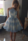 A-line Princess Sleeveless Homecoming Dresses with Applique, SH271