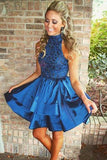Navy Blue A-Line High Neck Satin Homecoming Dress with Beading, SH274
