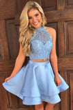 Two Pieces Princess Halter Homecoming Dresses, Mini Short Prom Dresses, SH280