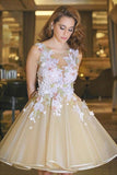 Tulle Short/Mini Juniors A-Line Homecoming Dress with Flowers, Party Dresses, SH284