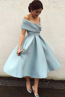 Satin A-Line Simple Homecoming Dress Off Shoulder Short Prom Dress, SH286