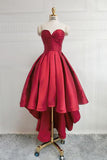 Burgundy High Low Sweetheart Neck Short Prom Dresses Sweet 16 with Corset Back, SH287
