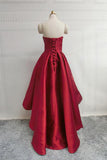 Burgundy High Low Sweetheart Neck Short Prom Dresses Sweet 16 with Corset Back from simidress.com