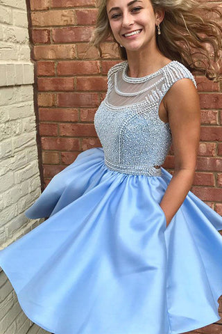 Fabulous Sleeveless Beaded Short Prom Dress Homecoming Dress, SH289