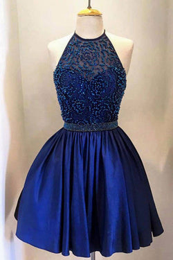 Royal Blue Taffeta with Beading, High Neck Bodice Halter Homecoming Dresses, SH28