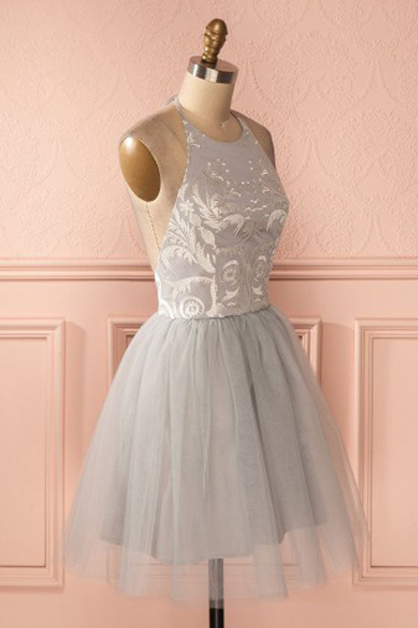 Cheap Silver Homecoming Dresses Short A-line Pleated Backless Prom Dress from simidress.com