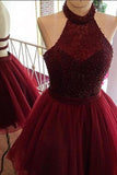 Burgundy A Line Homecoming Dress, Halter Party Dress, Beaded Short Prom dress, SH295